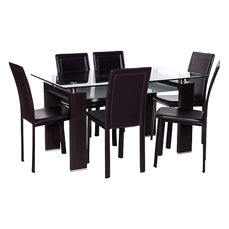 Mica juego de comedor 6 sillas prisma royal caf for Juego de comedor de vidrio precios