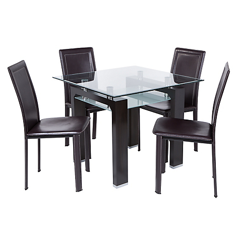 Juego de comedor new prisma 4 sillas caf for Comedores falabella chile