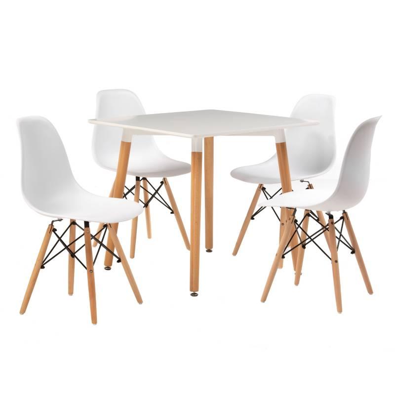 - Juego de comedor Bilund cuadrada Blanco 4 sillas