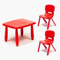 undefined - Mesa con 2 sillas rojas
