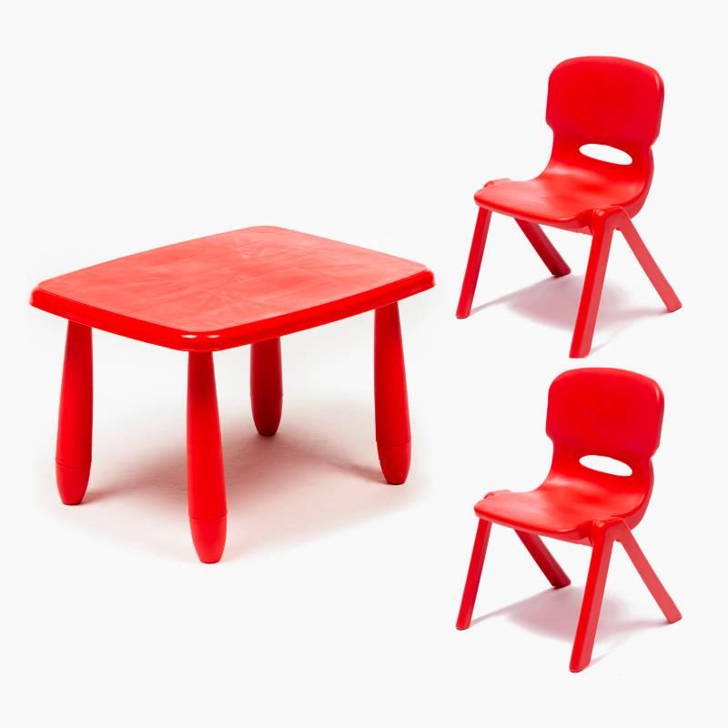 - Mesa con 2 sillas rojas