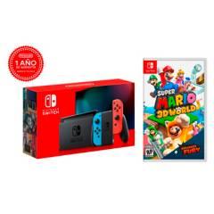 NINTENDO - Consola Switch LT2 + Super Mario 3D World+Bowsers Fury