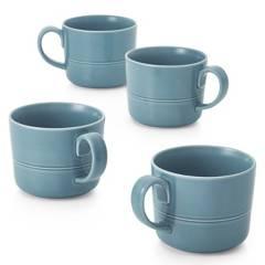 CRATE & BARREL - Set 4 Mug Hue Azul