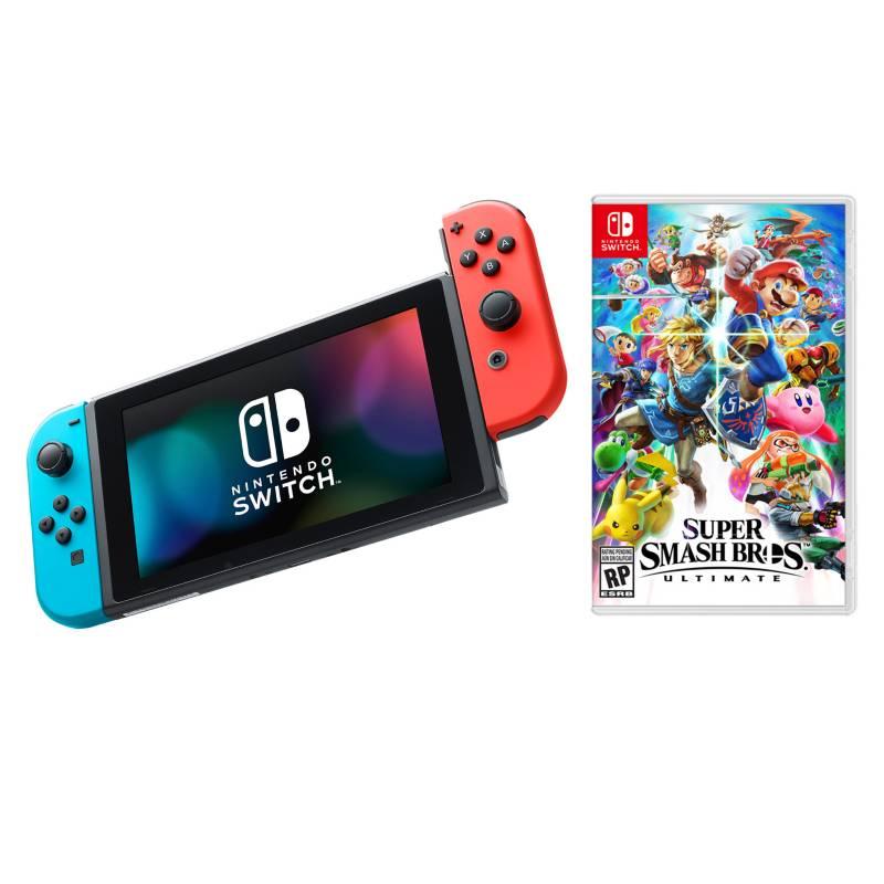 - Combo Consola Switch Azul-Roja + Super Smash Bros Ultimate