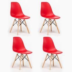 Pack 4 sillas Bilund Rojo