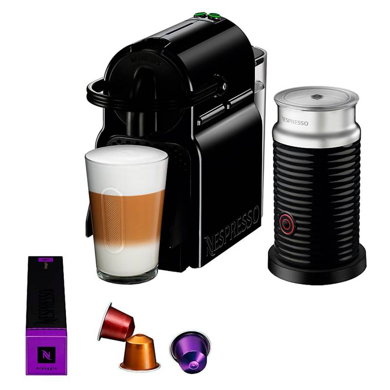 Nespresso - Cafetera  Inissia Black + Aeroccino 3 A3D40-AR-BK-NE