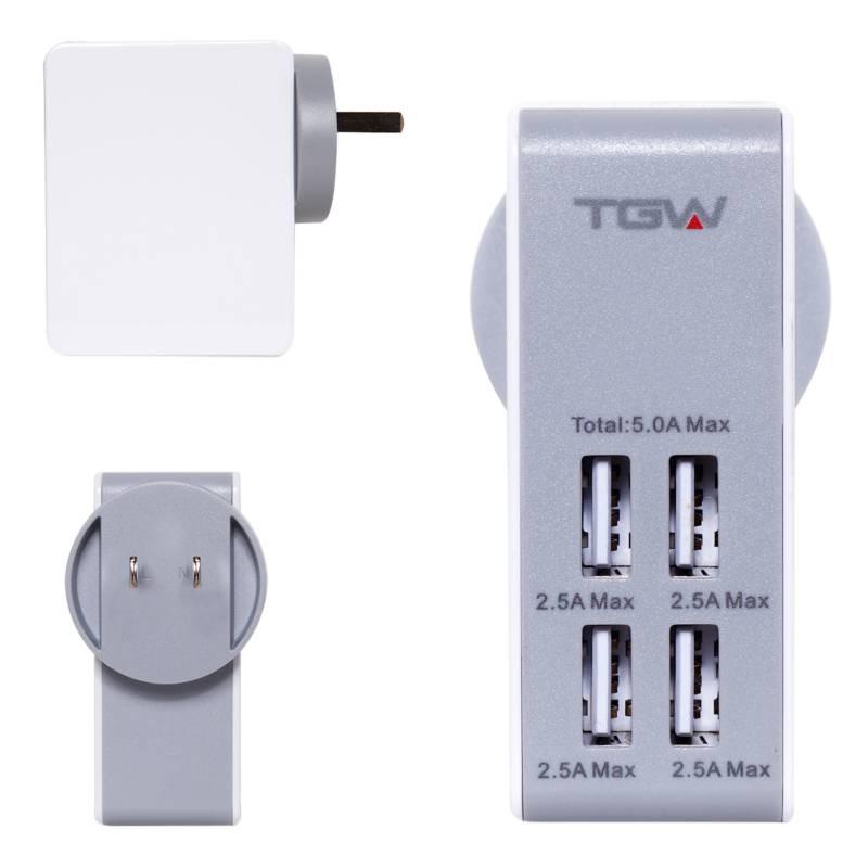 Tagwood - Cargador de pared 2500mAh 4 puertos USB