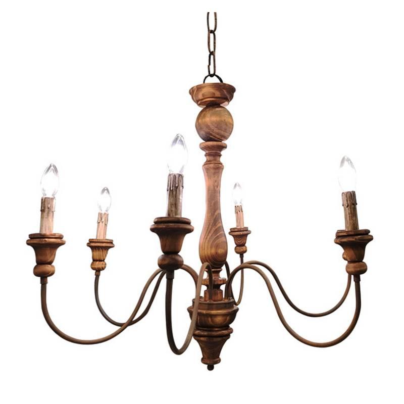 Lámpara colgante torneada 6 luces 80x80 cm