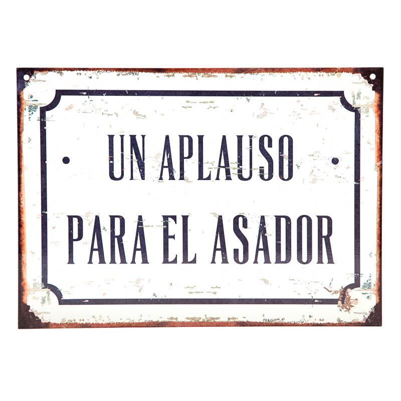 Club del Poster - Cartel de chapa Aplausos para la asador 28x20 cm