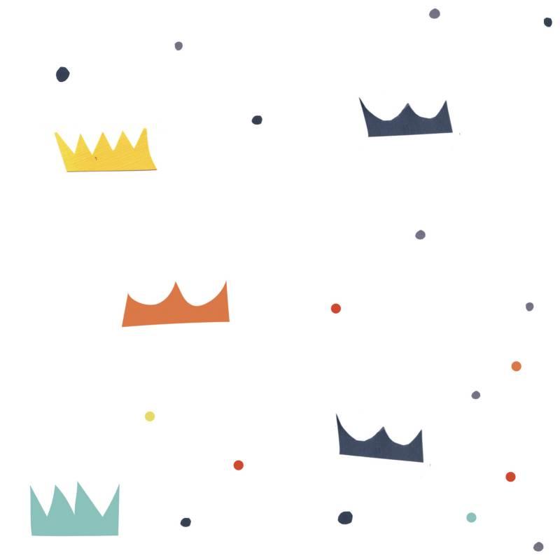 Enamorada del muro - Rollo de papel empapelado Coronas 52 cm x 1000 cm