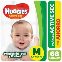 Huggies - Pañales Activ Sec M 68 pañales