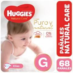 Huggies - Pañales Natural Care G 68 pañales