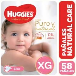 Huggies - Pañales Natural Care XG 58 unidades