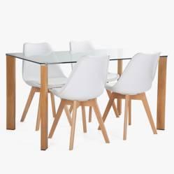Juego de comedor Indra 140 con 4 sillas