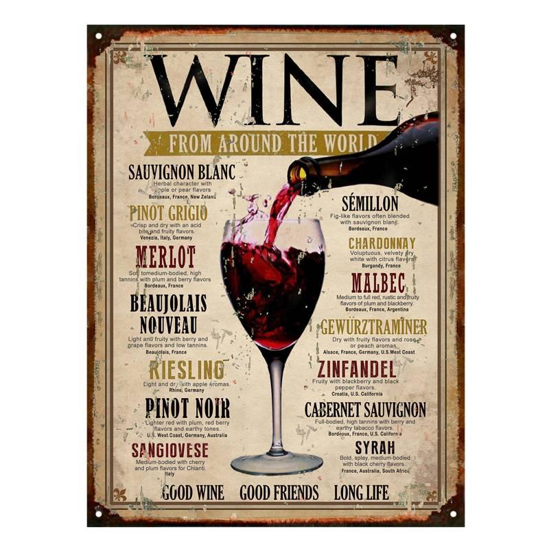 Club del Poster - Cartel de chapa Wine 30x40 cm