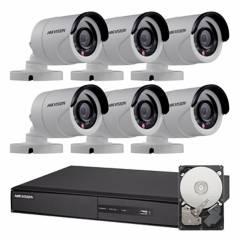 Hikvision - Sistema de seguridad de 6 cámaras + DVR de 8 canales + disco rígido 1TB