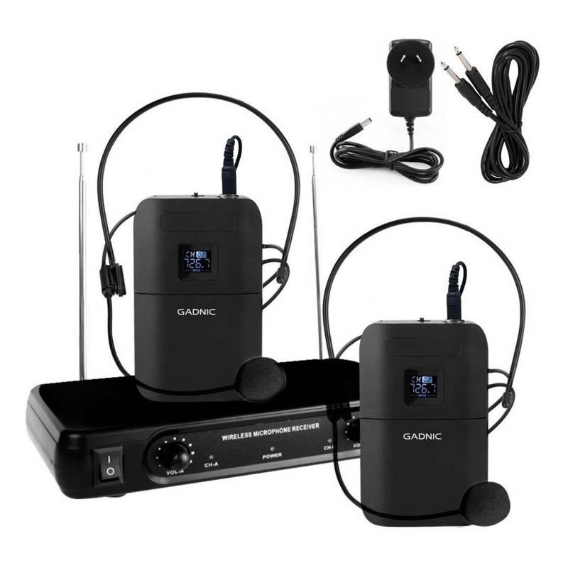Gadnic - Micrófono vincha Inalámbrico karaoke 2 canales