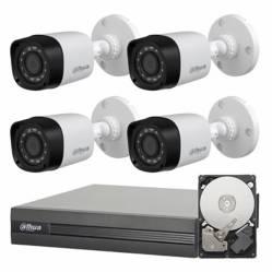 Dahua - Sistema de seguridad de 4 cámaras + DVR de 8 canales + disco rígido 1TB