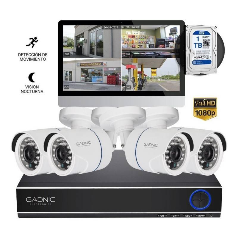 Gadnic - Sistema de seguridad de 4 cámaras + DVR full HD de 8 canales