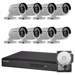 Hikvision - Sistema de seguridad de 8 cámaras + DVR de 8 canales + mouse