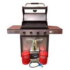 Bram-Metal - Parrilla a gas con garrafa y accesorios