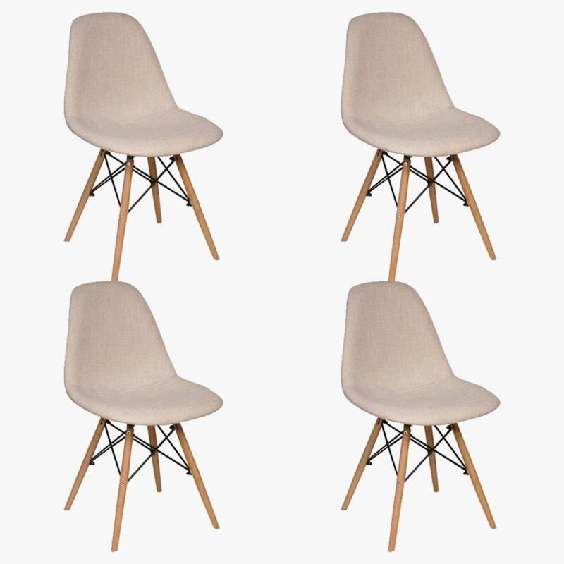 Makom - Set por 4 sillas de comedor lino Eames