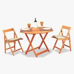 Ecomadera - Juego de jardín Perut 2 sillas
