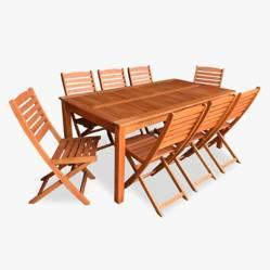 Ecomadera - Juego de jardín Iguazu Asia 8 sillas