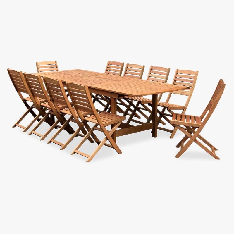 Ecomadera - Juego de jardín Uruguai Asia 10 sillas