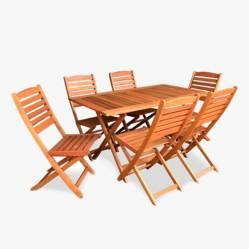 Ecomadera - Juego de jardín Tucan Asia 6 sillas