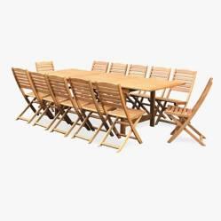Ecomadera - Juego de jardín Uruguai Asia 12 sillas
