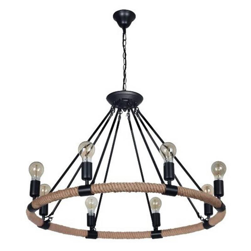 Lámpara colgante rustica  8 luces Anemos 78x48 cm