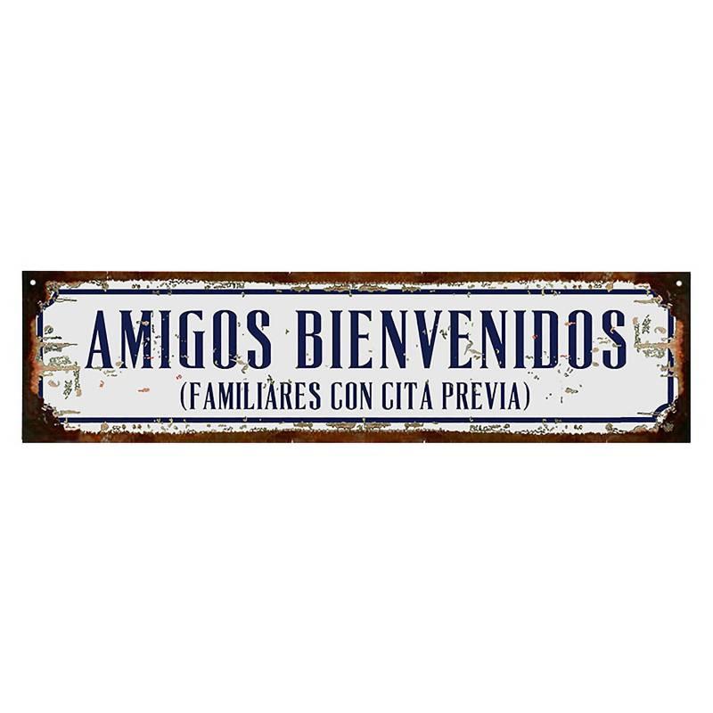 Cartel Amigos bienvenidos 10x40 cm