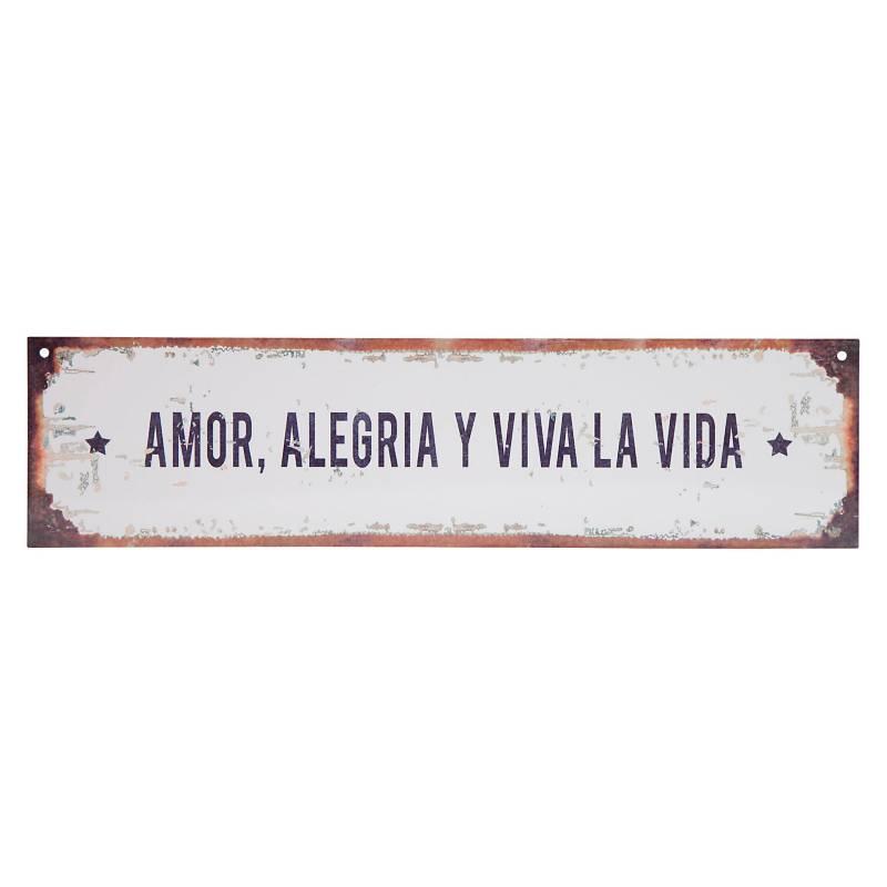 Cartel Amor alegría vida 10x40 cm