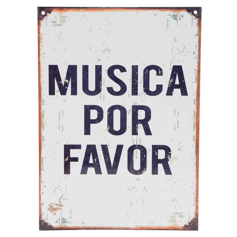 Cartel Música por favor 28x20 cm