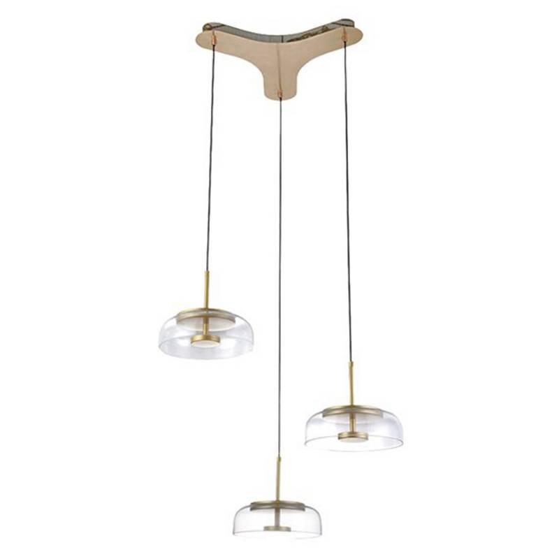 Lámpara colgante Plaka triple 17x50 cm