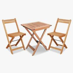 Ecomadera - Mesa plegable 60x60cm+ 2 sillas plegabables Catania