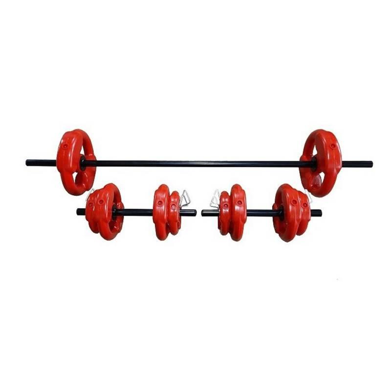 BSFit - Kit set 24kg disco agarre pesas + 2 mancuernas