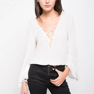 BLUSA ML Y 3/4 HBLS923GT SOLID OFF WHITE S