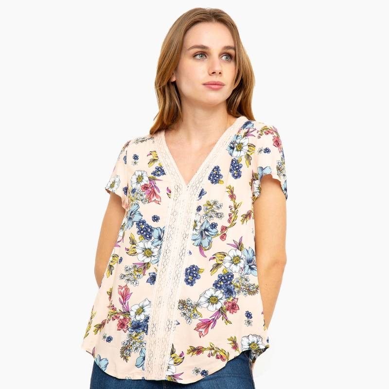 University Club - Blusa escote macrame