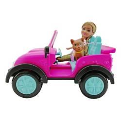 Jeep con muñeca y mascota