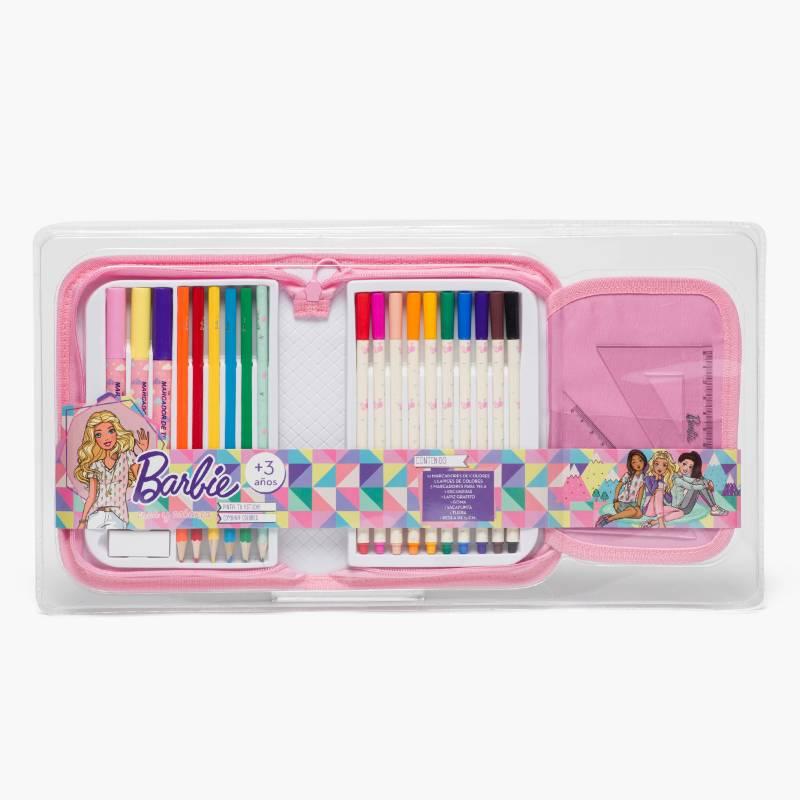 Barbie - Set de útiles para crear y colorear