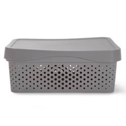 Mica - Caja organizadora con tapa grey36x27x14 cm