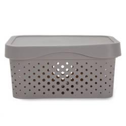 Mica - Caja organizadora con tapa grey26x18x12.4 cm