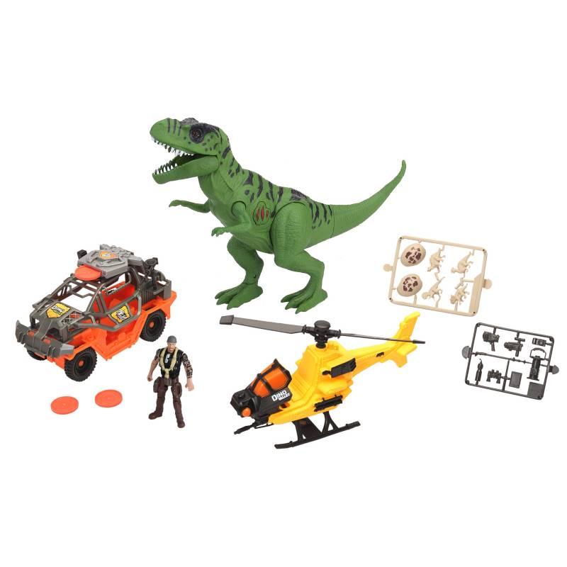 Dinoval - Dinosaurio con vehículo y helicóptero