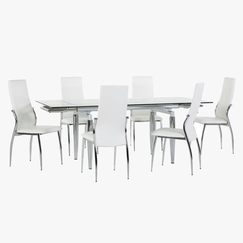 Mica - Juego de comedor Linear mesa expandible + 6 sillas