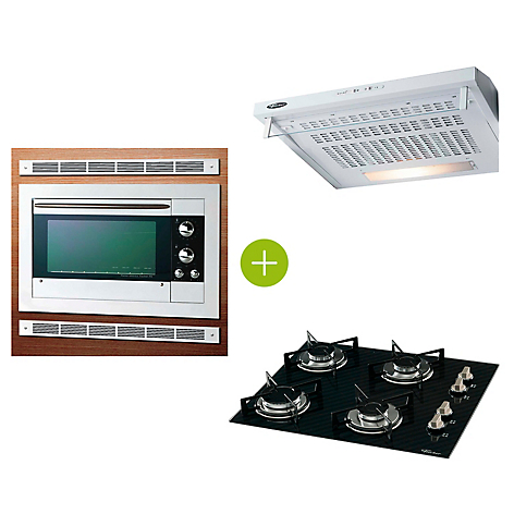 Horno Empotrar Fit Line 44L blanco + Estufa Gas 4Q decor slim  + Extractor Classic Power 60 cm Blanco