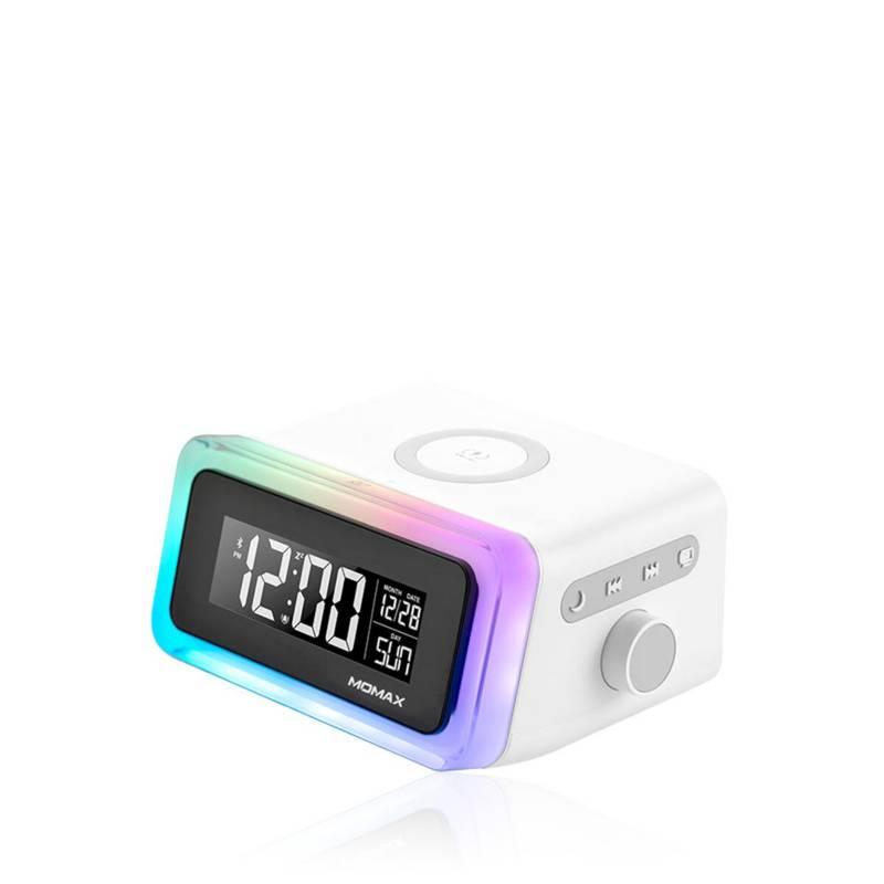 MOMAX - Reloj digital con cargador inalámbrico y parlante