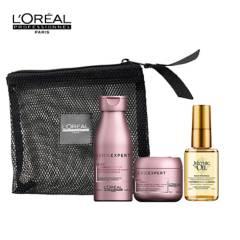 Loreal Serie Expert - Set de Tratamientos Capilares Set Viajero Cuidado Cabello Tinturado Vitamino: Shampoo + Mascarilla + Aceite