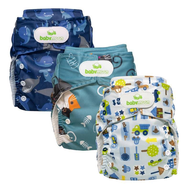 Baby Moon - Ecopañal Babymoon Con Absorbente Intercambiable Estampado Ballenas, Gatos, Carros X 3 Und.